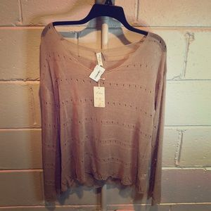 Sheer knit long sleeve top